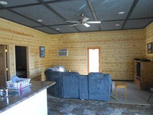living room iowa hunting lodge
